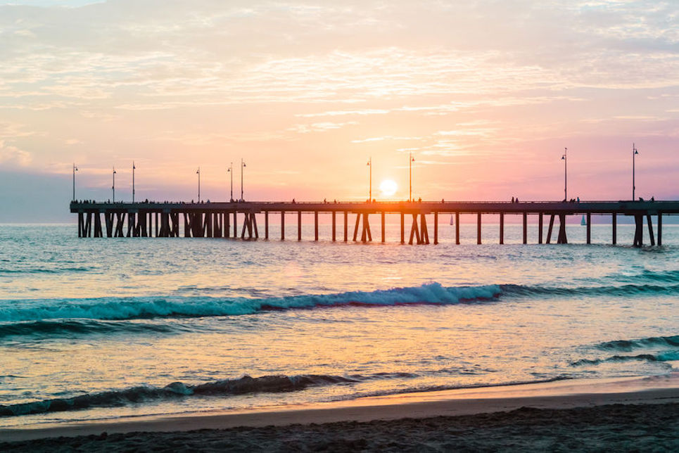 60218516 - photo of sunset at venice beach, california