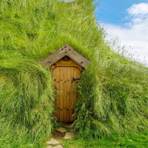 An old turf house in Skalholt, Iceland