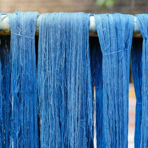 70094585 - blue indigo dye silk thread