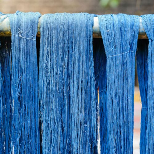 70094585 - blue indigo dye silk thread